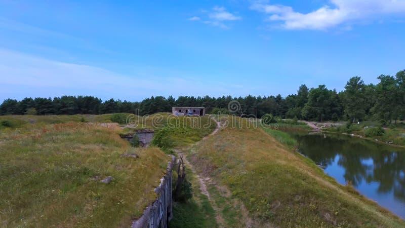 Liepaja War Port, Lettland Old South Forts Baltic Sea Överkänslig vy över sjöflygets överkant arkivbilder