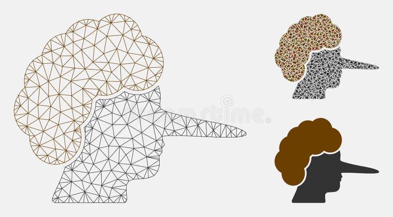Lier Vector het Mozaïekpictogram van Mesh Network Model en van de Driehoek vector illustratie
