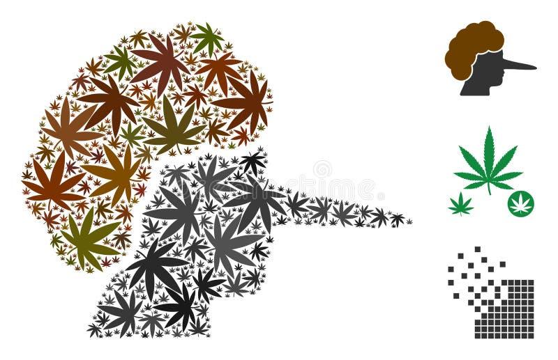 Liercollage van Marihuana vector illustratie