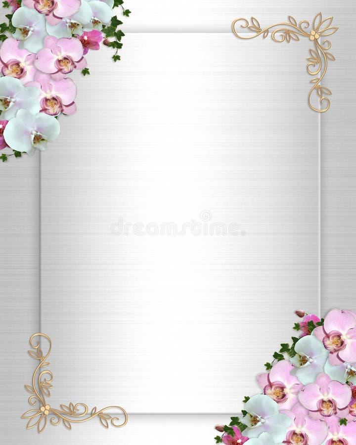 Lierre d'orchidées de cadre d'invitation de mariage illustration stock