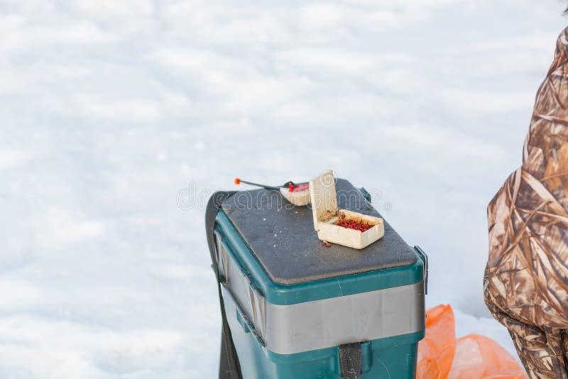 lies för fiskeis bara blockerade vinterzander Ett hjälpmedel för vinterfiske i händer En metspö i händerna för att frysa royaltyfria foton