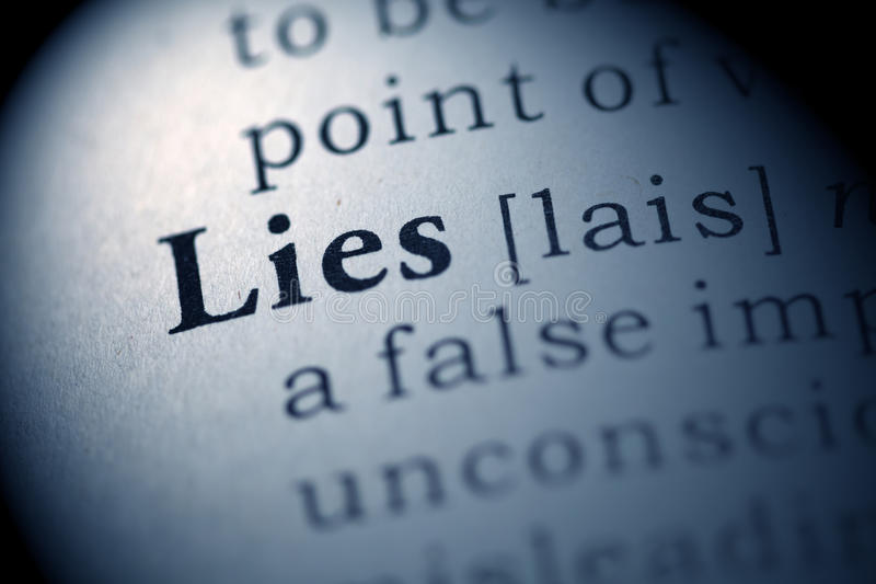 Lies. Fake Dictionary, Dictionary definition of the word Lies royalty free stock image