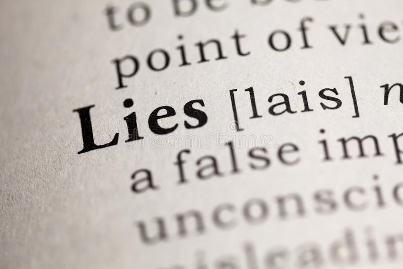 Lies. Fake Dictionary, Dictionary definition of the word Lies. including key descriptive words stock photo