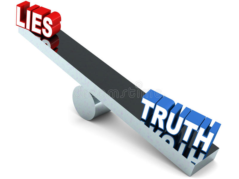 Lies and truth. Truth winning over the see-saw game on white background royalty free illustration