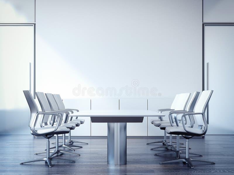 Lieu de réunion avec une grande table et des chaises rendu 3d photographie stock
