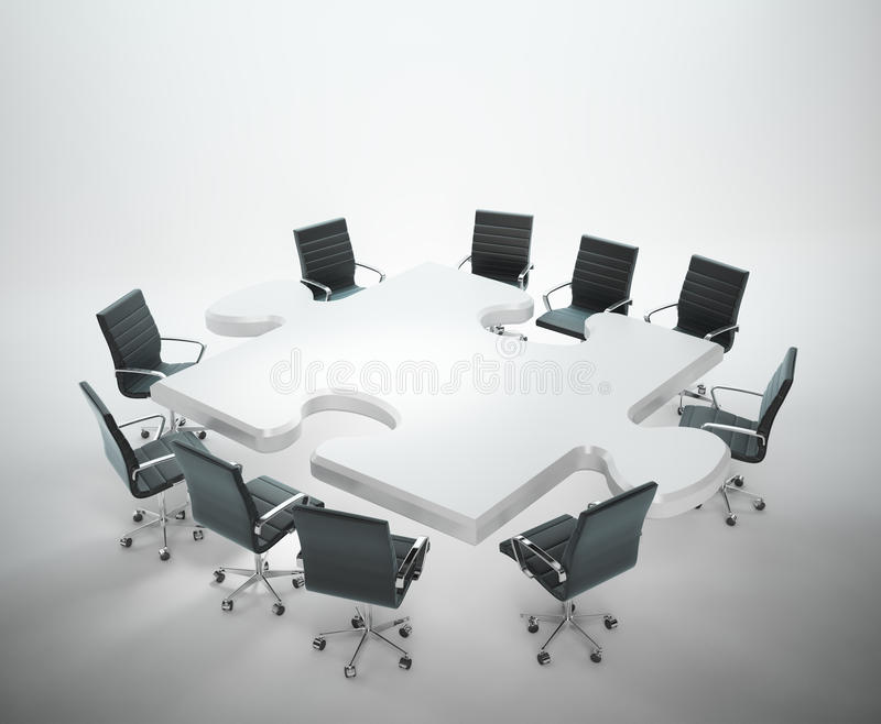 Lieu de réunion avec une table formée par puzzle illustration de vecteur