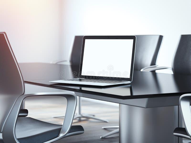 Lieu de réunion de bureau avec la table et l'ordinateur portable rendu 3d image libre de droits