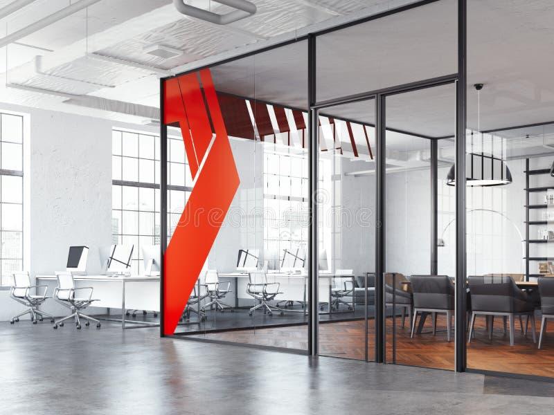 Lieu de réunion de bureau et espace ouvert de fonctionnement blanc, rendu 3d illustration de vecteur