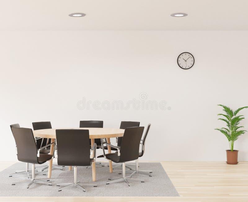 lieu de réunion du rendu 3D avec les chaises, la table en bois ronde, la pièce blanche, le tapis et le petit arbre illustration libre de droits