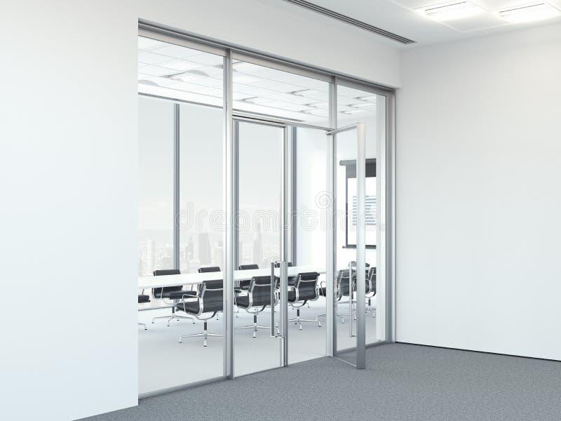 Lieu de réunion lumineux réaliste moderne avec de grandes fenêtres panoramiques, rendu 3d images libres de droits