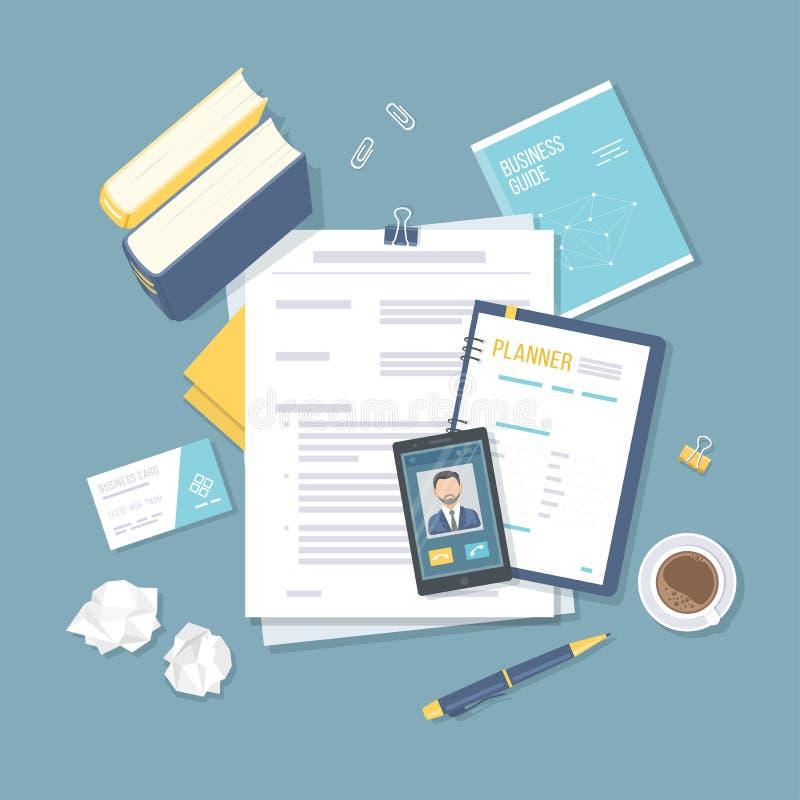 Lieu de travail avec les documents financiers, planificateur, livres, carte de visite professionnelle de visite, téléphone avec u illustration libre de droits