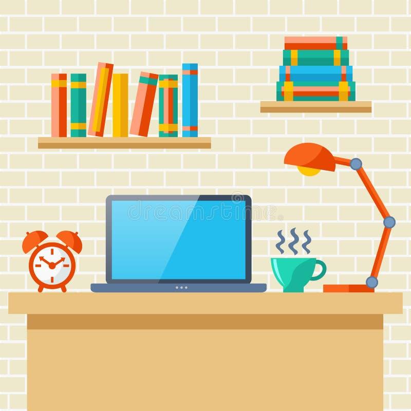 Lieu de travail avec un ordinateur portatif illustration libre de droits