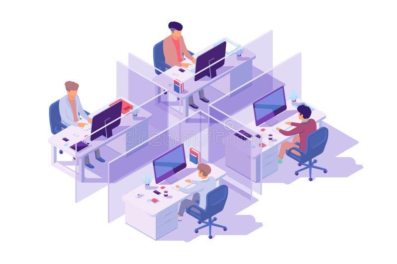 Lieu de travail 3d isométrique avec quatre sections et programmeur d'homme d'affaires à l'ordinateur illustration stock