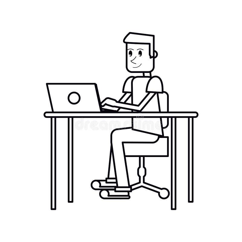 Lieu de travail de bureau d 39 ordinateur portable de type de for Type de bureau de travail