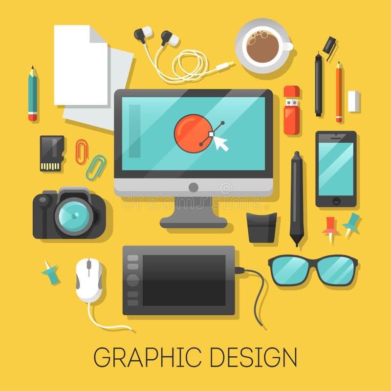 Lieu de travail de conception graphique avec l'ordinateur et les outils de Digital illustration de vecteur