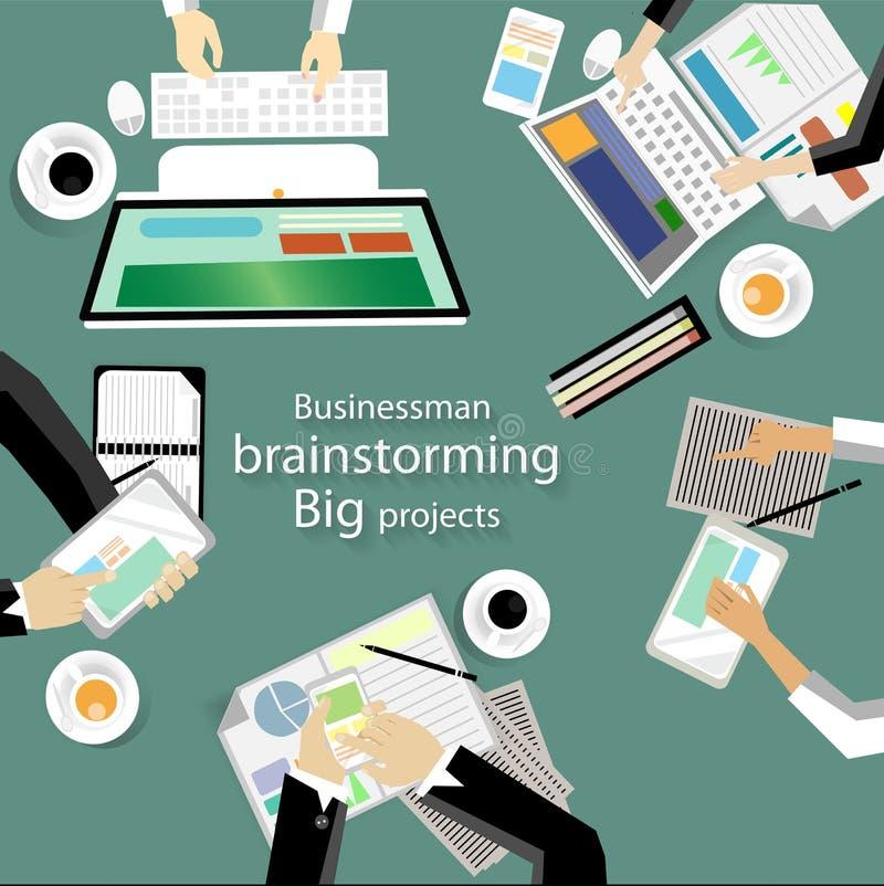Lieu de travail de vecteur pour des réunions d'affaires et la séance de réflexion Bannières de concept et de Web de plan d'analys illustration libre de droits