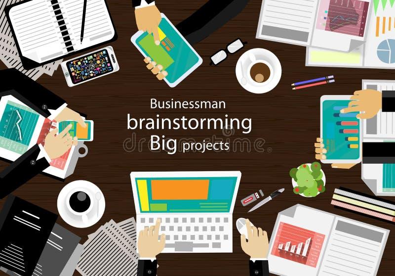 Lieu de travail de vecteur pour des réunions d'affaires et la séance de réflexion Bannières de concept et de Web de plan d'analys illustration stock