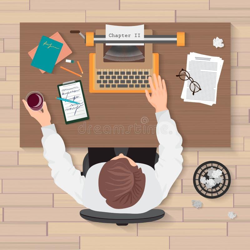 Lieu de travail du ` s d'auteur Vue supérieure d'auteur de l'homme travaillant à la machine à écrire dans la maison ou le bureau  illustration de vecteur