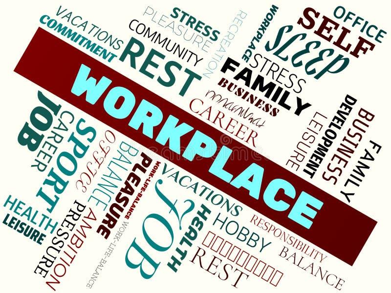 LIEU DE TRAVAIL - image avec des mots liés au travail-vie-équilibre de sujet, nuage de mot, cube, lettre, image, illustration illustration libre de droits