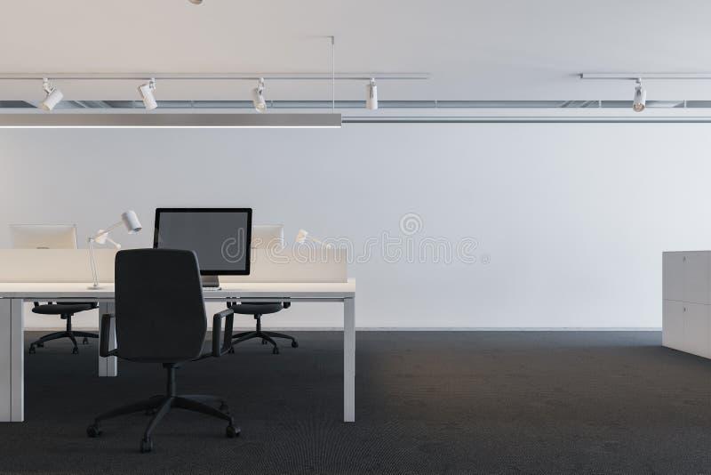 Lieu de travail industriel blanc de bureau de style illustration de vecteur