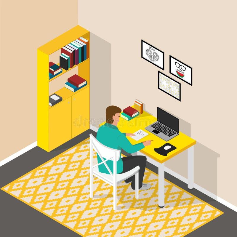Lieu de travail isométrique dans la chambre Bureau d'ordinateur avec l'ordinateur portable et les livres L'homme s'assied à la ta illustration libre de droits