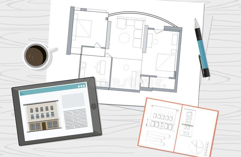Lieu de travail - modèle technique de plan de maison d'architecte de projet Fond de construction illustration libre de droits