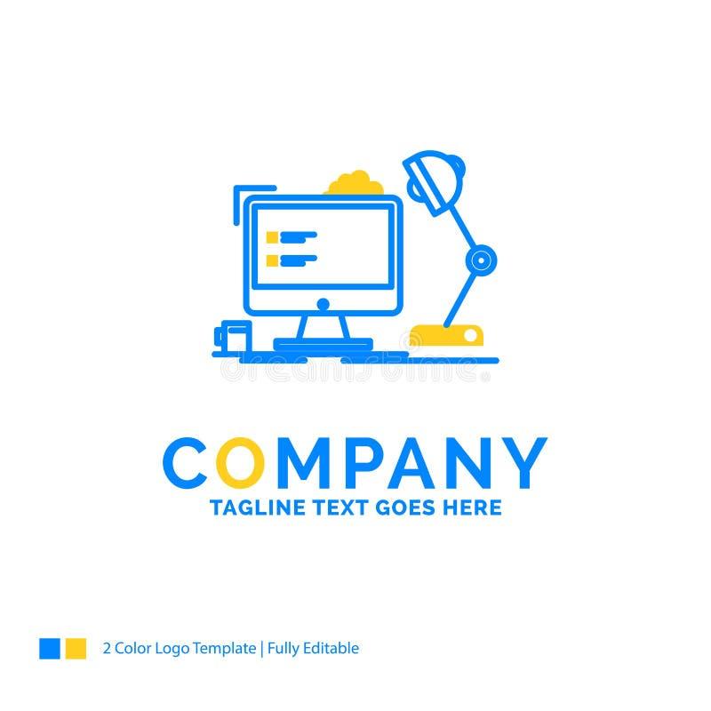 lieu de travail, poste de travail, bureau, lampe, ordinateur Busin jaune bleu illustration stock