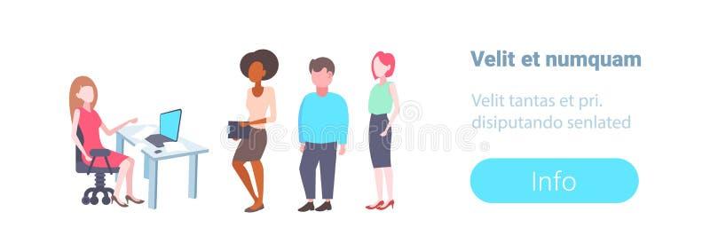Lieu de travail se reposant de travailleur de société de recrutement de femme d'affaires d'heure choisissant le candidat pour la  illustration de vecteur