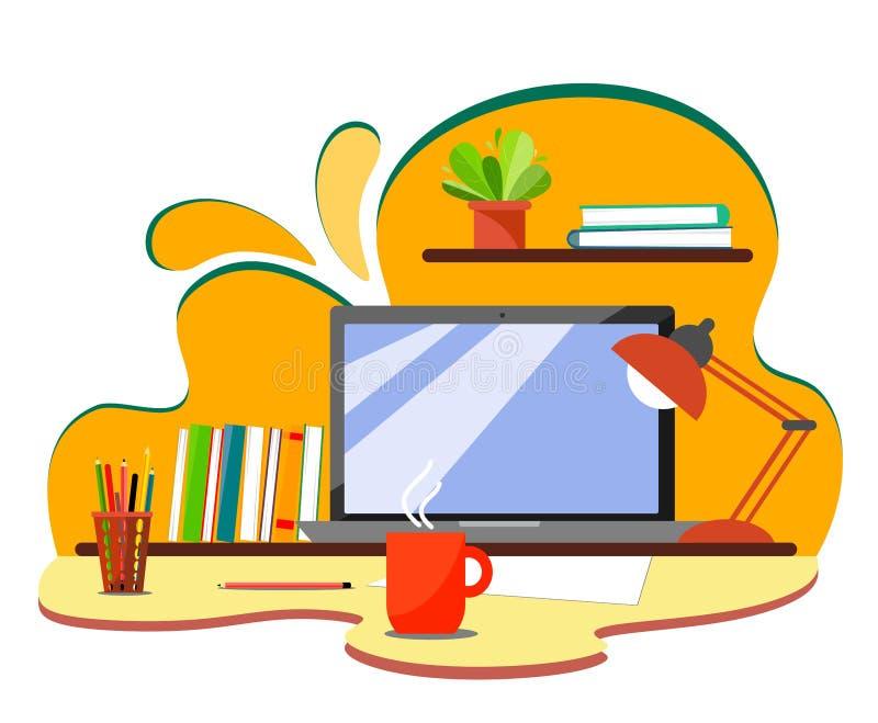 Lieu de travail sur un fond abstrait avec les livres, l'ordinateur portable, les crayons et une tasse chaude de thé ou de café Il illustration de vecteur