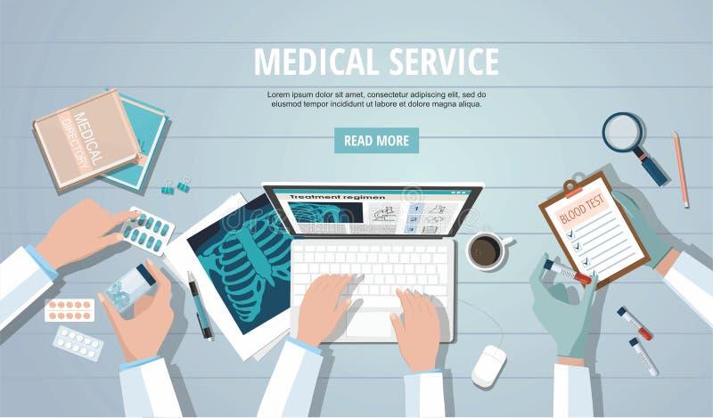 Lieu de travail de table de médecins stéthoscope réglé d'argent de médecine de mensonges de concept Poumons, ordinateur et pilule illustration libre de droits