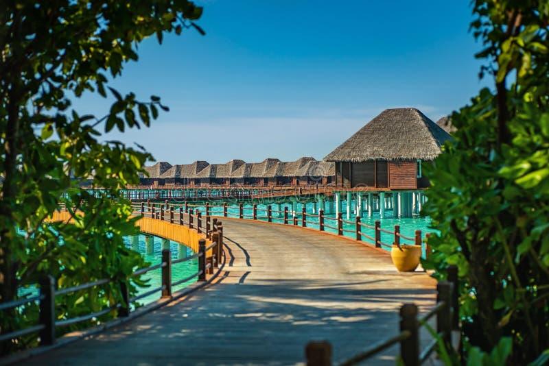 Lieu de villégiature luxueux avec des villas de l'eau en Maldives, station de vacances d'hôtel photos stock