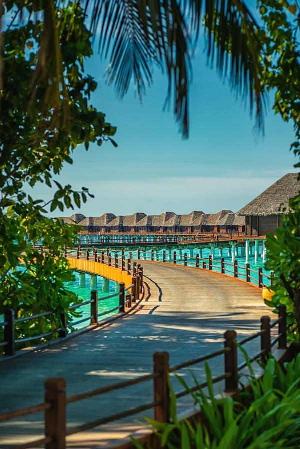 Lieu de villégiature luxueux avec des villas de l'eau en Maldives, station de vacances d'hôtel photo stock