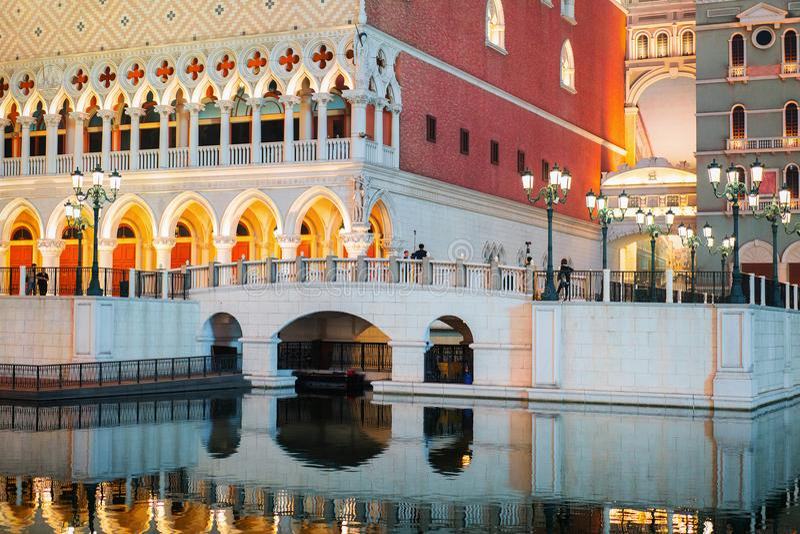 Lieu de villégiature luxueux et casino de Macao vénitiens au Macao photo libre de droits