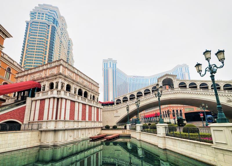 Lieu de villégiature luxueux et casino de Macao vénitiens du Macao images libres de droits