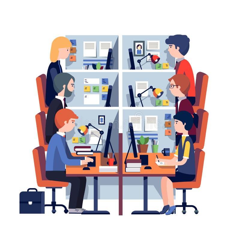 Lieux de travail de bureau de compartiment avec des employés illustration libre de droits