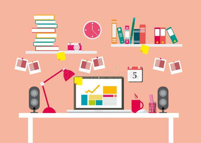Lieux de travail ou bureau et équipements pour le travail dans le bureau, la ligne plate vecteur et l'illustration illustration libre de droits
