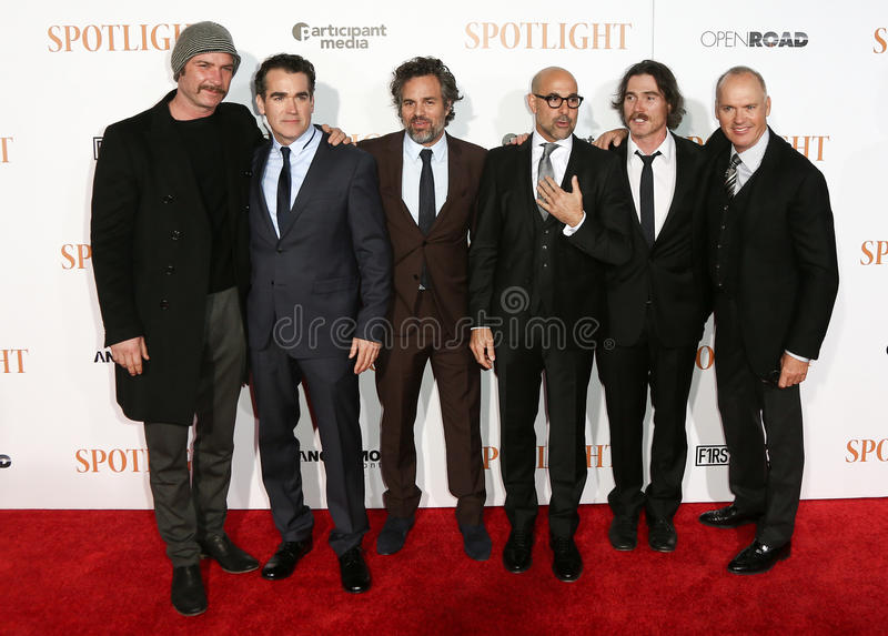 Liev Schreiber, Brian d'Arcy James, Mark Ruffalo, Stanley Tucci, Billy Crudup, Michael Keaton imagens de stock royalty free