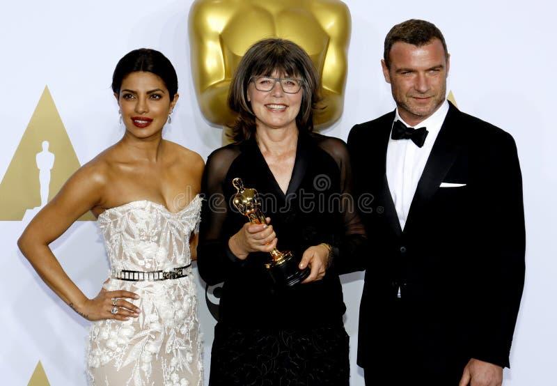 Liev Schreiber, Margaret Sixel i Priyanka Chopra, zdjęcia royalty free