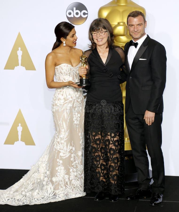 Liev Schreiber, Margaret Sixel i Priyanka Chopra, fotografia stock