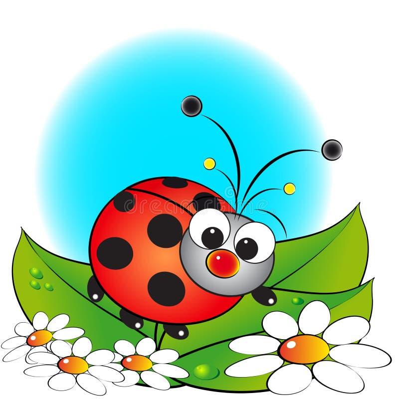 Lieveheersbeestje en bloemen - de illustratie van Jonge geitjes royalty-vrije illustratie