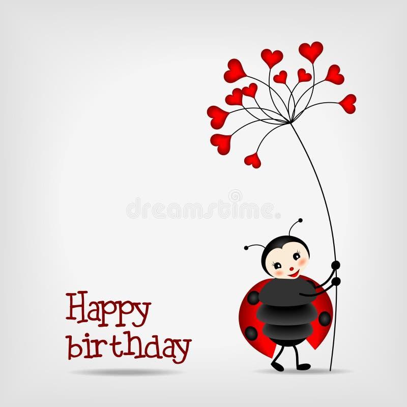 Lieveheersbeestje met bloem - verjaardagskaart vector illustratie