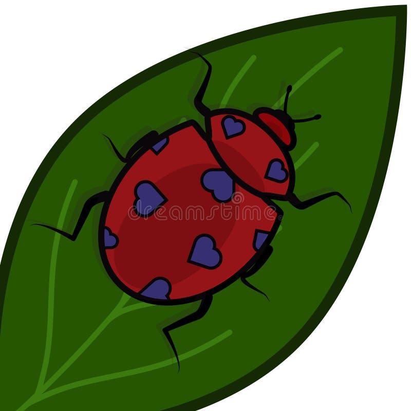 Lieveheersbeestje met harten in plaats van vlekken op een groen blad voor de Dag van Valentine s vector illustratie