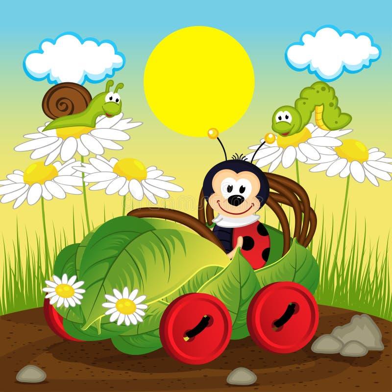 Lieveheersbeestjeauto van blad vector illustratie