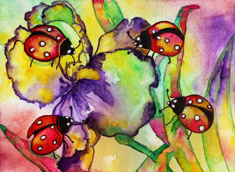 Lieveheersbeestjes Iris Watercolor stock illustratie