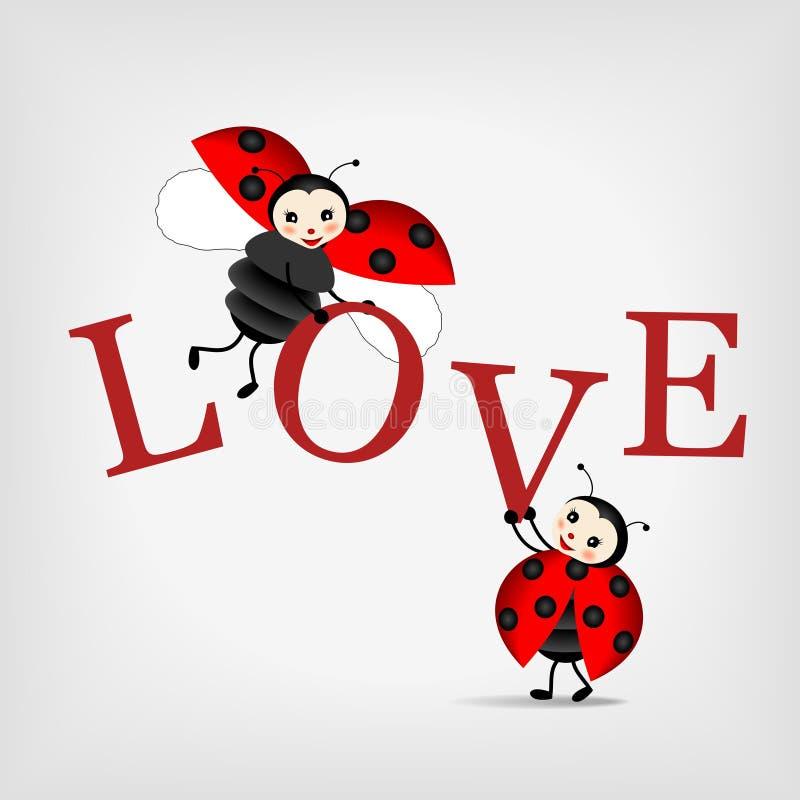 Lieveheersbeestjes met brievenLIEFDE royalty-vrije illustratie