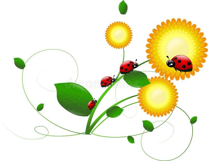 Download Lieveheersbeestjes Op Bloem Stock Illustratie - Illustratie bestaande uit naughty, bloei: 39106241