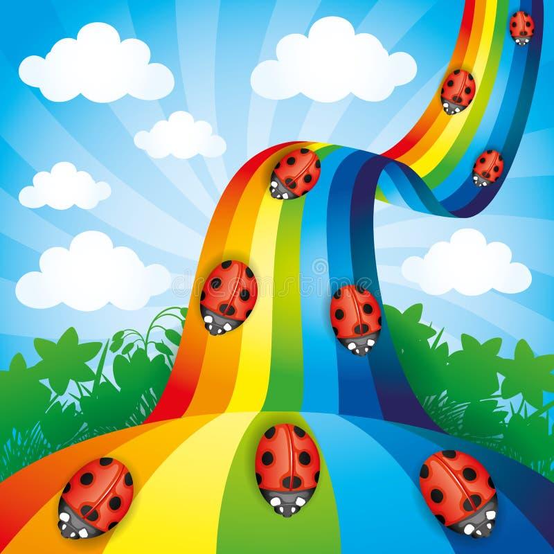 Lieveheersbeestjes op de regenboog vector illustratie