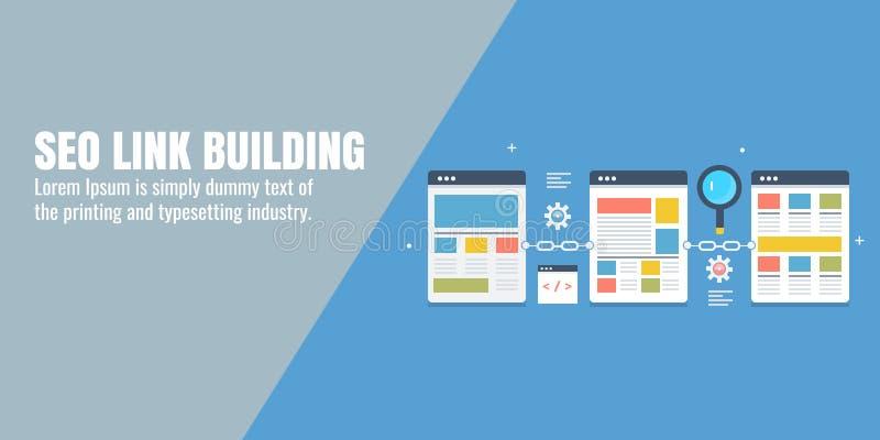 Liez le bâtiment pour le seo, vente numérique, promotion de site Web, optimisation de moteur de recherche, contenu, concept blogg illustration libre de droits