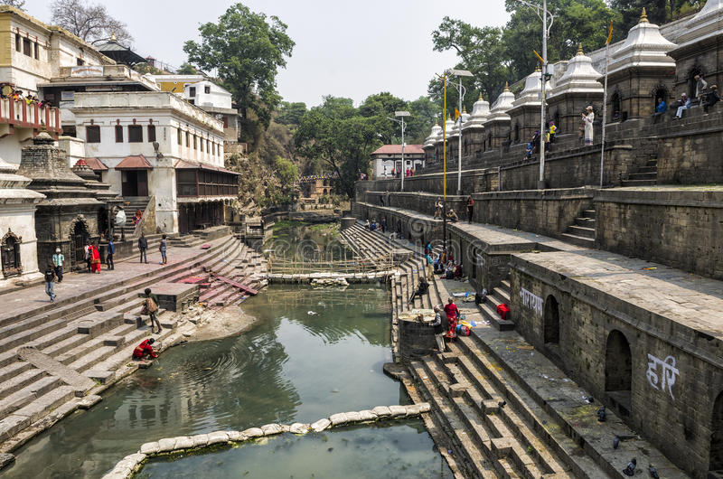 Life and activites along the holy Bagmati River at Pashupatinath Temple, Kathmandu, Nepal. stock photography