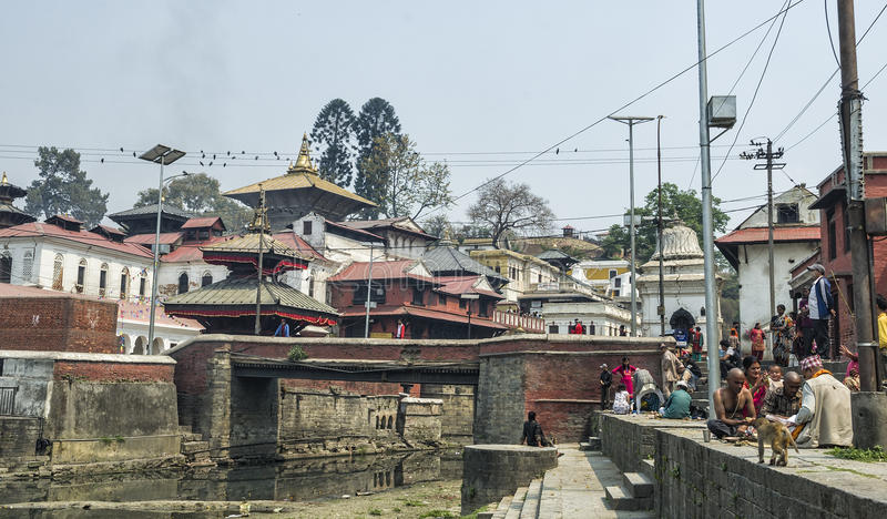 Life and activites along the holy Bagmati River at Pashupatinath Temple, Kathmandu, Nepal. royalty free stock photography